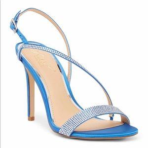 Gabriella Jeweled Sandal Blue Satin